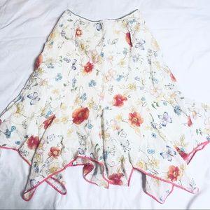 Odille Women's White Floral Scallop Hem Skirt 8